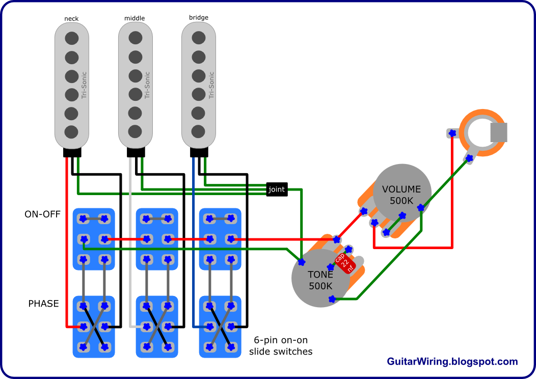 The Guitar Wiring Blog - diagrams and tips Brian Mayu0027s Red Special Wiring Diagram  sc 1 st  The Guitar Wiring Blog - blogger : guitar pickup wiring schematic - yogabreezes.com