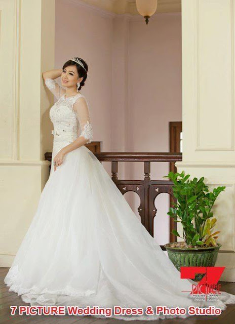 yu thandar tin with wedding dress