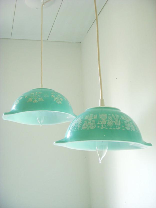 Vintage Butterprint Pyrex pendant lamps