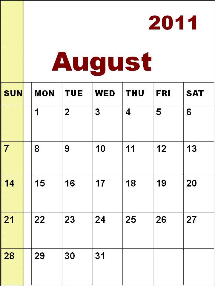 blank calendar 2011 australia. Blank Calendar 2011 August or