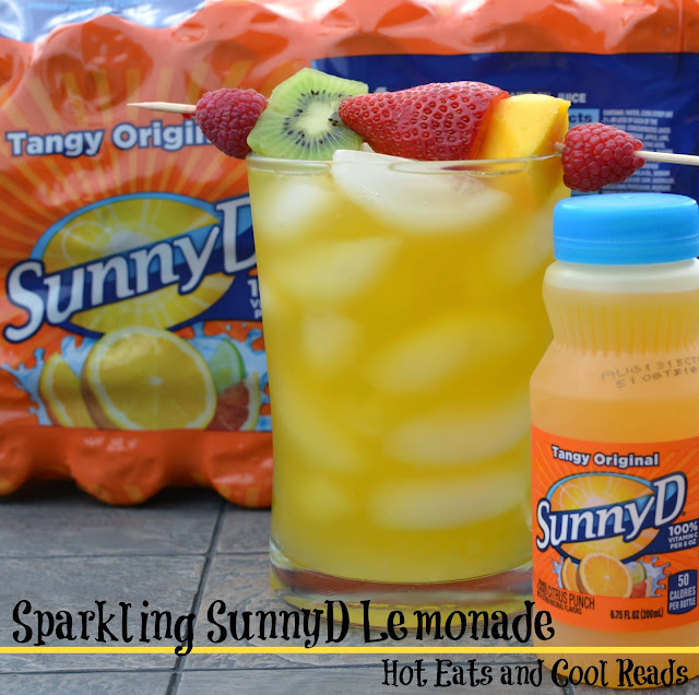 Perfect summertime drink and snack for the kiddos! Sparkling SunnyD Lemonade with Fresh Fruit Skewers from Hot Eats and Cool Reads