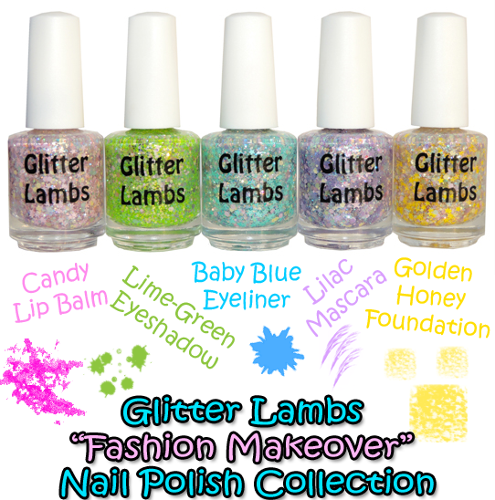 "Glitter Lambs ""Fashion Makeover"" Glitter Topper Nail Polish Indie Lacquer"