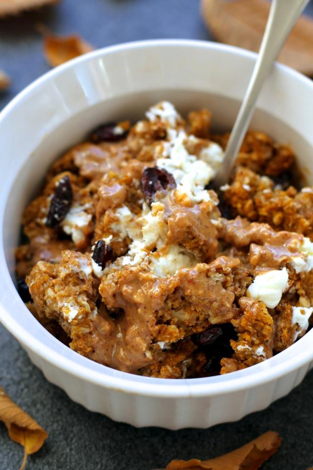 Pumpkin Pie Breakfast Bakel #pumpkin #oats #oatmeal #Fall #Autumn