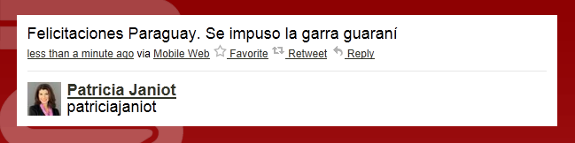 La presentadora de CNN, Patricia Janiot, parece haber contado los pollos antes de nacer en el Paraguay-Venezuela. Instantes antes del gol de Grenddy Perozo, envió este mensaje en su cuenta de Twitter. ¿La excusa para el gaffé? Bueno, lo tuiteó diez minutos más tarde. Fuente:lapatilla