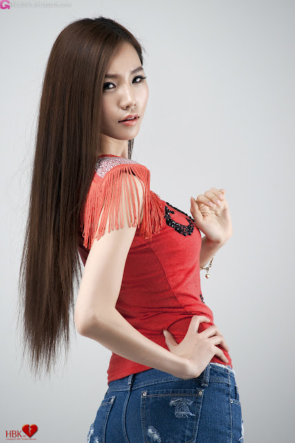 2 Lee Ji Min - Red Top-very cute asian girl-girlcute4u.blogspot.com
