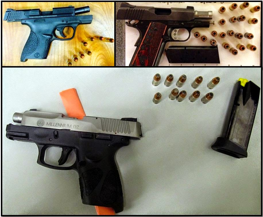 Clockwise from top left, firearms discovered in carry-on bags at: ATL, SAT & MDW