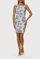 Rochie alba din dantela imprimata