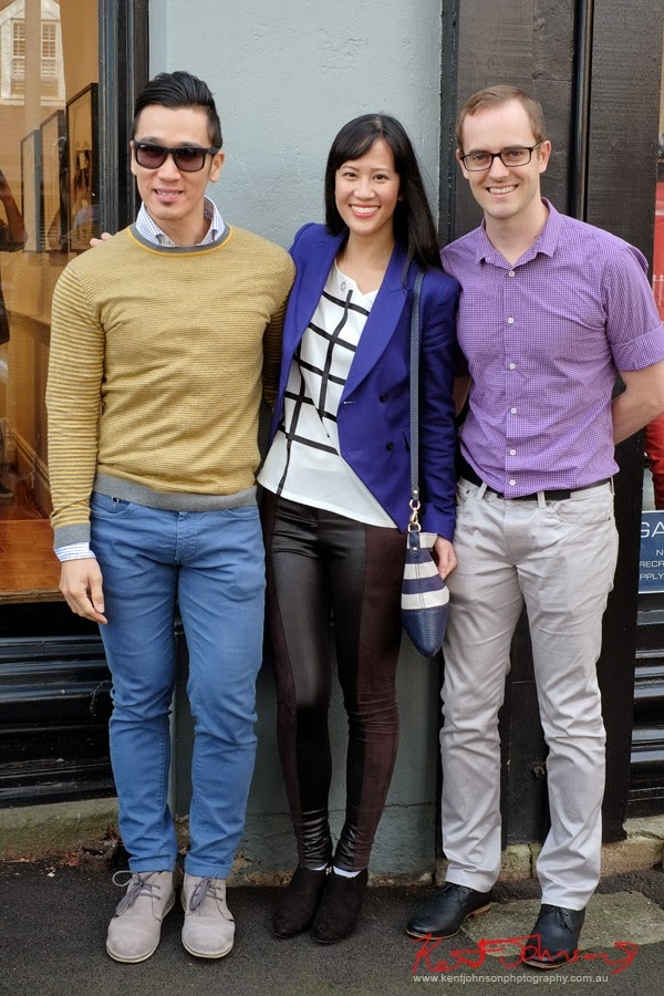 Casual mens and womens style; Her, cobalt blue double breasted blazer; Friends at Olsen Irwin Works on Paper Gallery