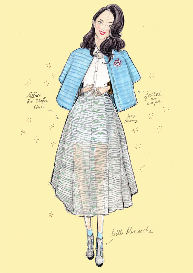 Kitty N. Wong / Fashion Streetstyle Illustration - Yancy sunny yellow