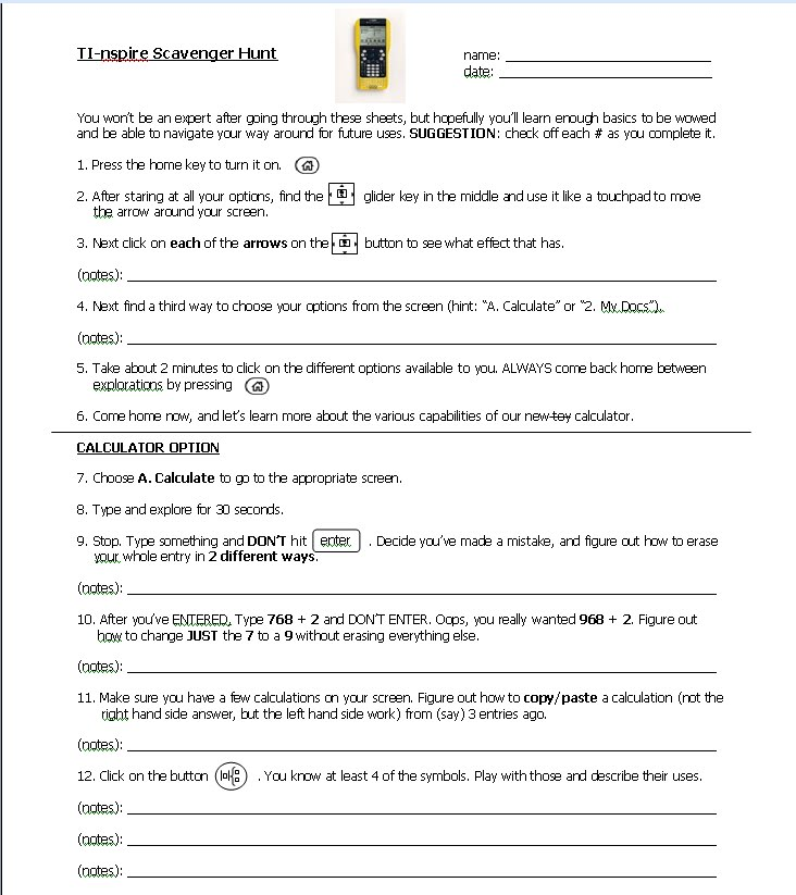 Math Teacher Mambo TInspire Start Up Worksheet – Scavenger Hunt Worksheet