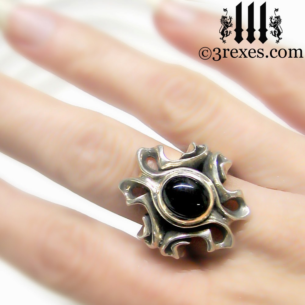The Empress Vampire Silver Ring gothic black onyx on model