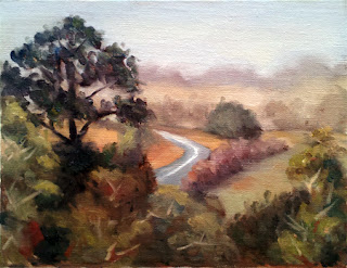 Oil painting of a sealed road leading down into a valley surrounded by trees, with a background of misty rain.