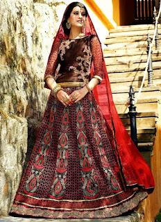 Black n Red Net A Line Lehenga | Beige Net Fish Cut Lehenga