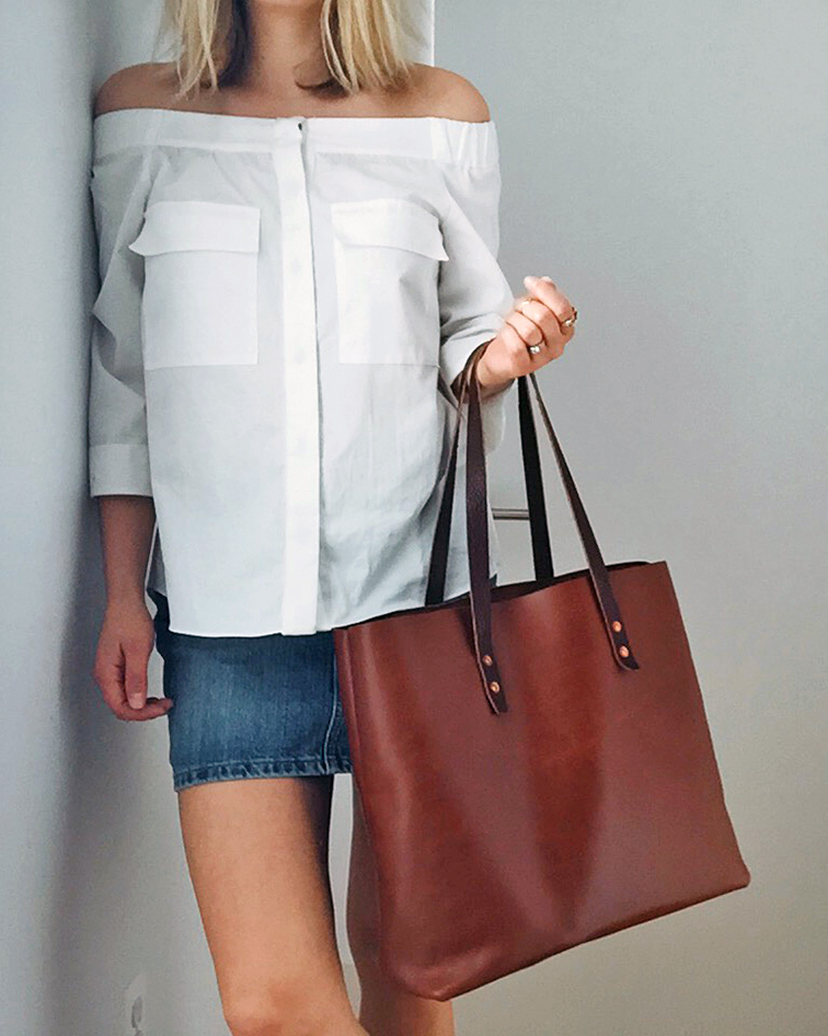 White H&M off the shoulder top, Gap denim mini skirt, Whipping Post tan leather tote