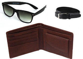 Buy Leather Wallet, Belt & Sunglasses Combo For Men at 169 :buytoearn
