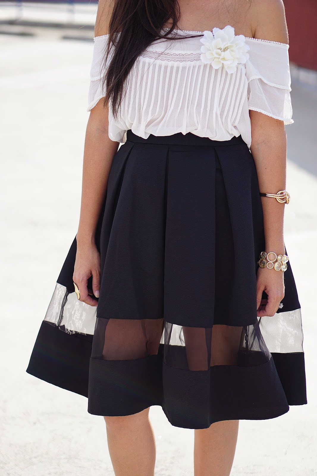 MNG by Mango Peasant Top, JCPenney, Express High Waisted Full Midi Skirt, Schutz gold heels, My Habit, La Mer watch,