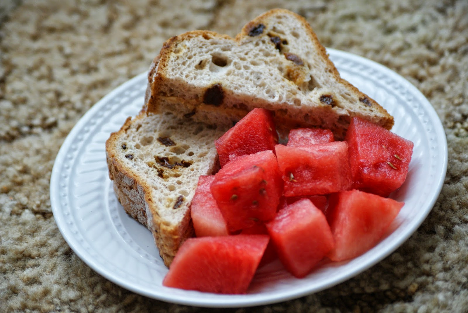 Gluten Free Cinnamon Raisin Peanut Butter Sandwich with Watermelon