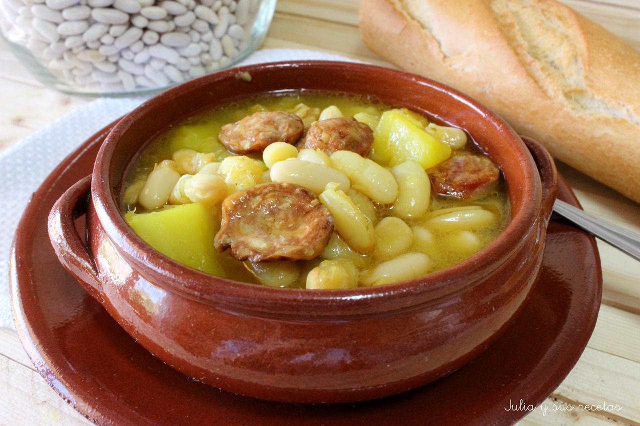 Julia y sus recetas jud as blancas con chorizo - Judias con chorizo y patatas ...