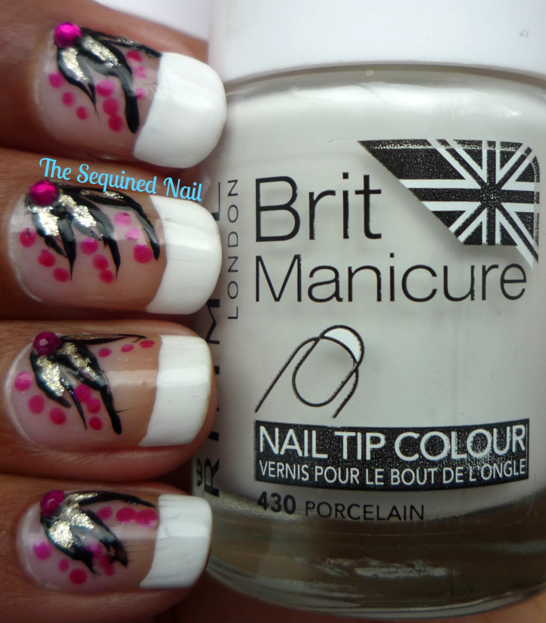 The Sequined Nail: French Manicure with Flowers