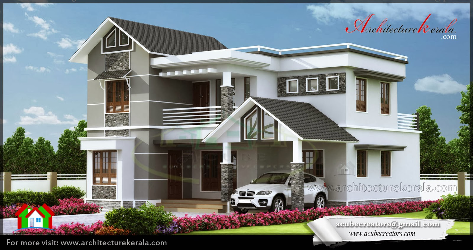Modern elevation 2000 sq ft architecture kerala for Veedu elevation