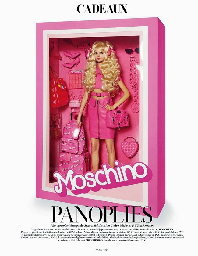 Moschino SS15 Barbie Pink Cropped Biker Perfecto Jacket With Leather Pencil Skirt Editorials