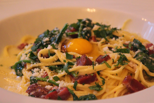 Quail egg carbonara at Parla, Boston, Mass.
