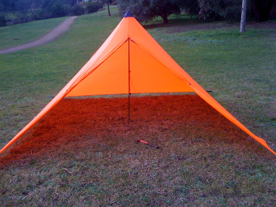 I love the orange colour - nice and bright. However I guess I can forget about using this tent for stealth c&ing! & Trails and Tracks: MYOG Pyramid tent