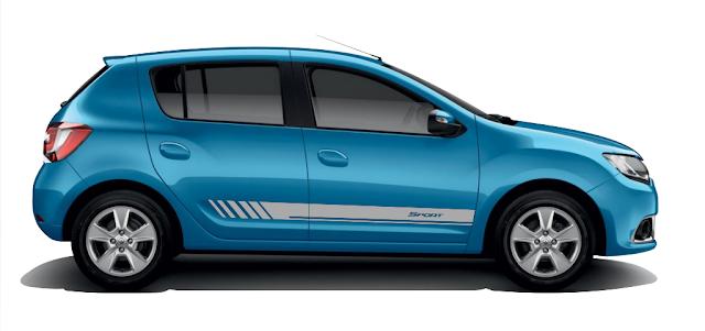 Faixa lateral adesiva tuning modelo Sport para Novo Sandero Renault lançamento 2015 2016