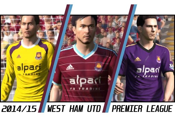 PES 2015 West Ham United 2014/15 Kits by *aLe
