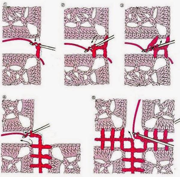 Как соединить связанные крючком мотивы пледа