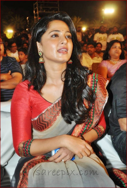 Anushka_shetty_in_green_saree_at_Mirchi_movie_audio_launch