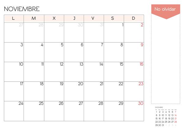 calendario mes de noviembre 2014 para imprimir