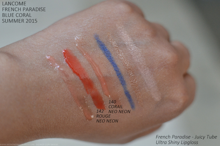 Lancome French Paradise Blue Coral Makeup Collection Summer 2015 Swatches Juicy Tubes 142 Rouge 140 Corail Neo Neon