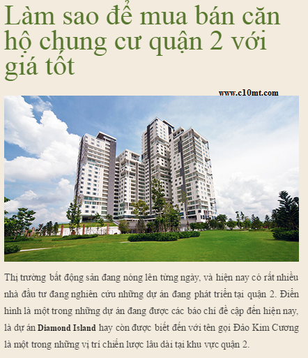 Diamond Island - How To Purchase Apartments In District 2 With Good Price