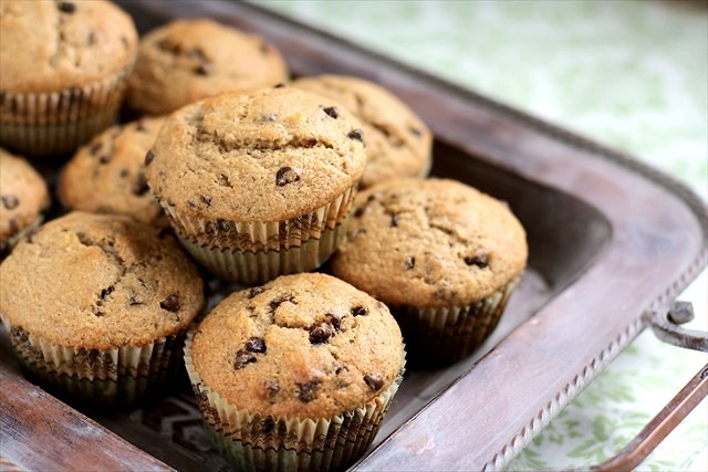 Banana Chocolate Chip Muffins (Made w/ Coconut Oil)