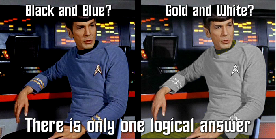 Spock's uniform Blue and Black or White and Gold?