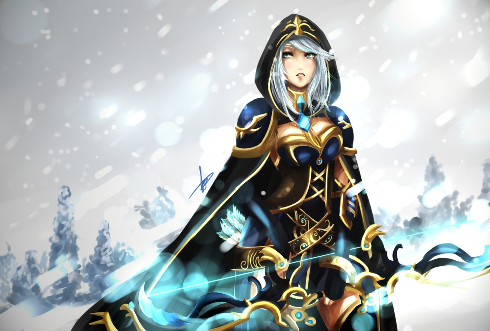 Ashe League Of Legends Heroes Champion Archer Bow Cape Snow Girl Female Online Computer Video Game