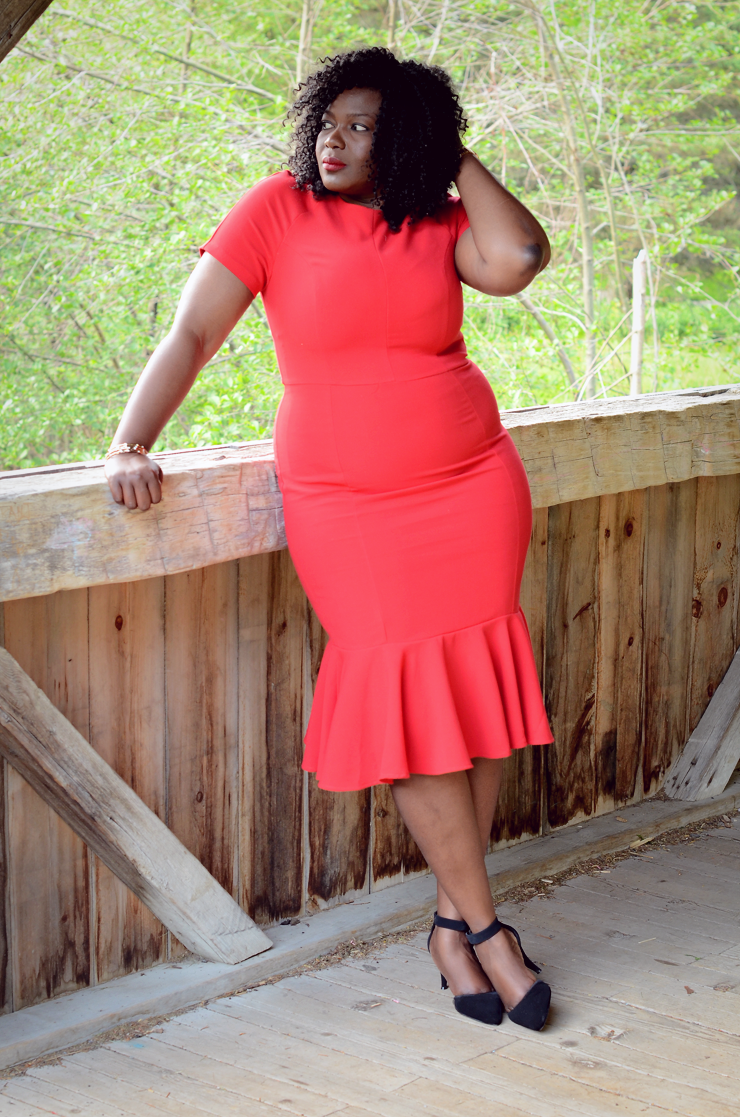 Plus size fashion for women: Red peplum hem dress