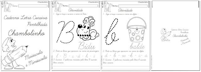 Caderno Letra Cursiva Pontilhada Chambolinho