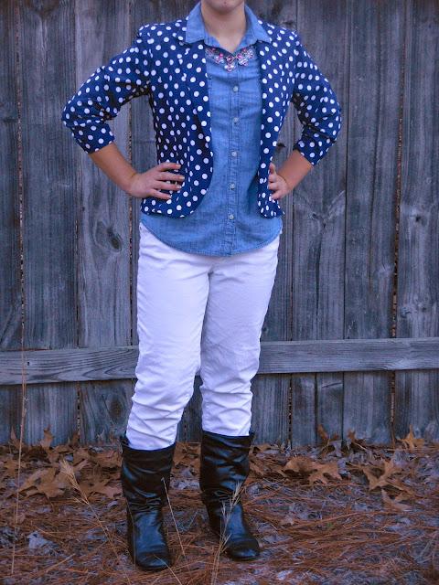 chambray shirt five ways polka dot blazer fall transition statement necklace black boots white jeans