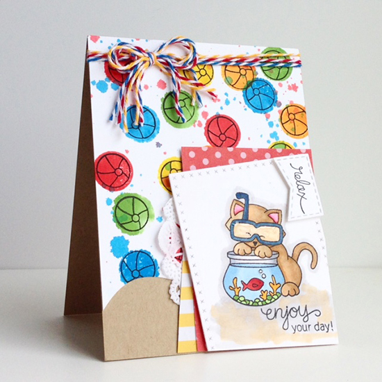 Summer Beach Ball cat card by Diane | Newton's Summer Vacation stamp set by Newton's Nook Designs