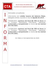 C.T.A. INFORMA CRÉDITO HORARIO ANTONIO PÉREZ, AGOSTO 2019