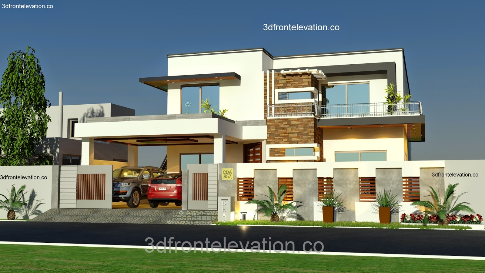 3d front 1 kanal house plan layout 50 39 x 90 for Home design ideas facebook