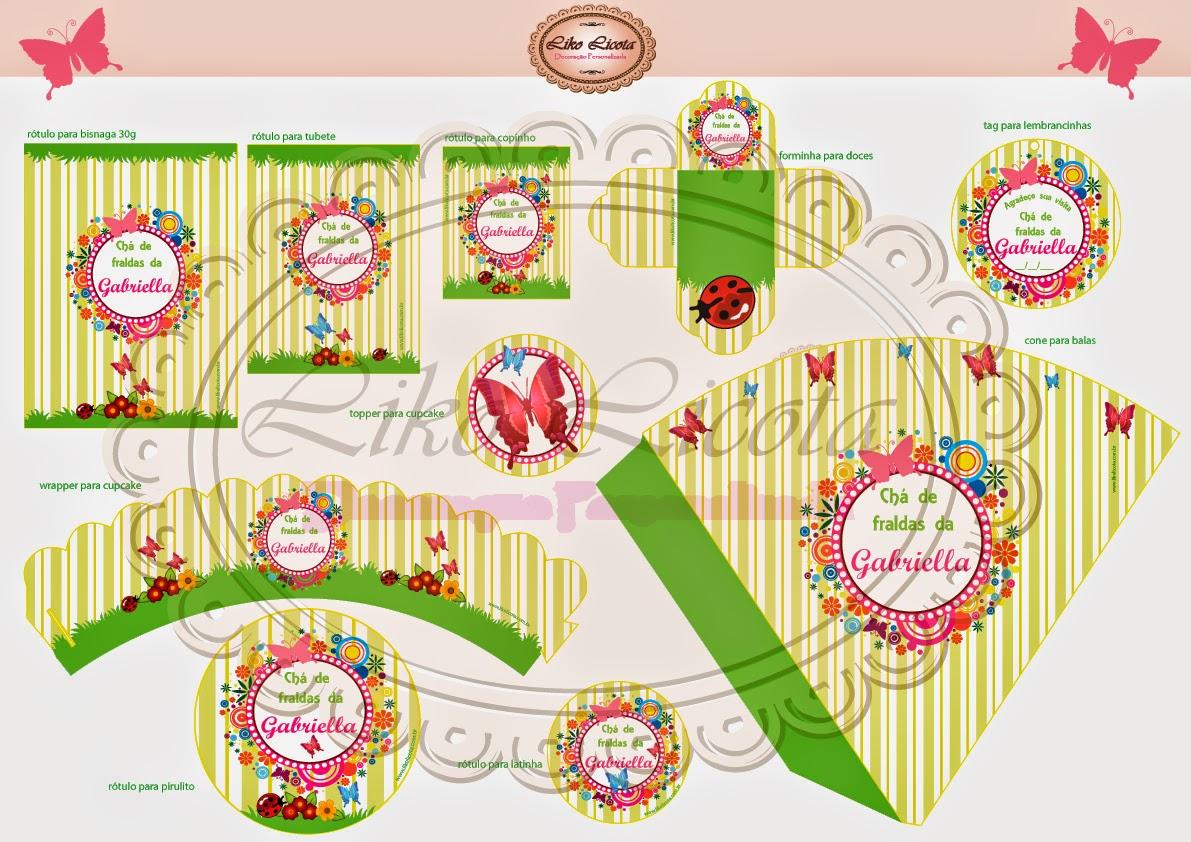 kit para imprimir festa infantil jardim das borboletas