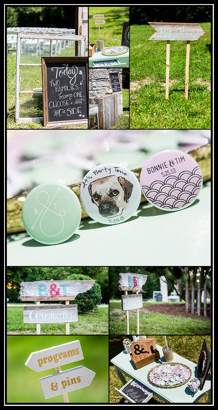 photograph of DIY projects at a wedding in East Tennessee, vintage inspiration