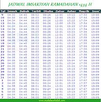 Jadwal Imsakiyah Puasa Ramadhan 1434 H 2013 Wilayah Jakarta