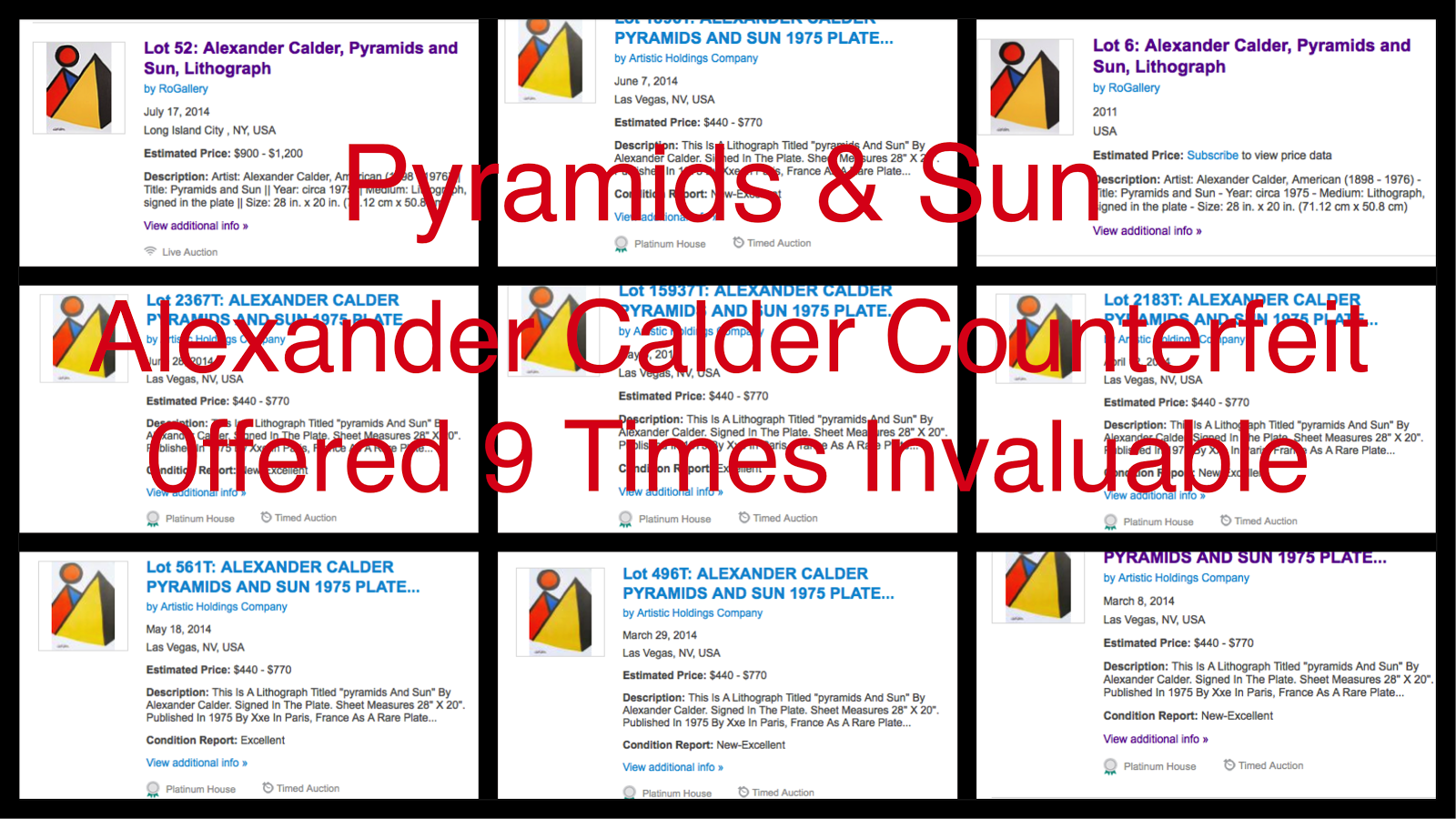 Calder Counterfeit titled Pyramids & Sun offered 9 Times on Invaluable