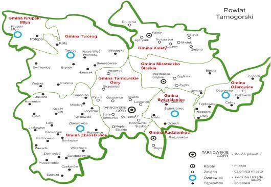 Tarnowskie Góry położenie polozenie powiat tarnogorskie wykresy mapy 1