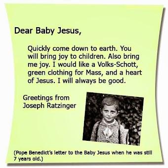 Thư của Đức Giáo Hoàng Benedict XVI gởi Chúa Hài Đồng khi ngài 7 tuổi