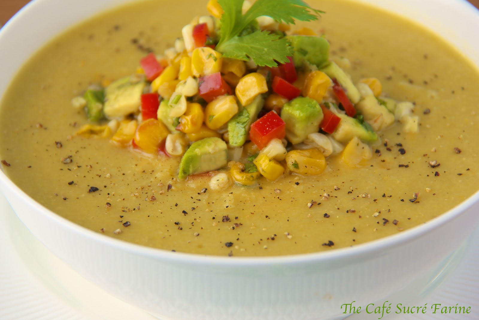 Fresh Corn Soup w/ Roasted Corn/Avocado Salsa | The Café ...